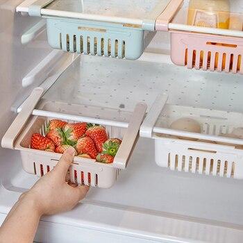 Adjustable Kitchen Drawer Organizer and Refrigerator Storage Rack with Shelf Holder