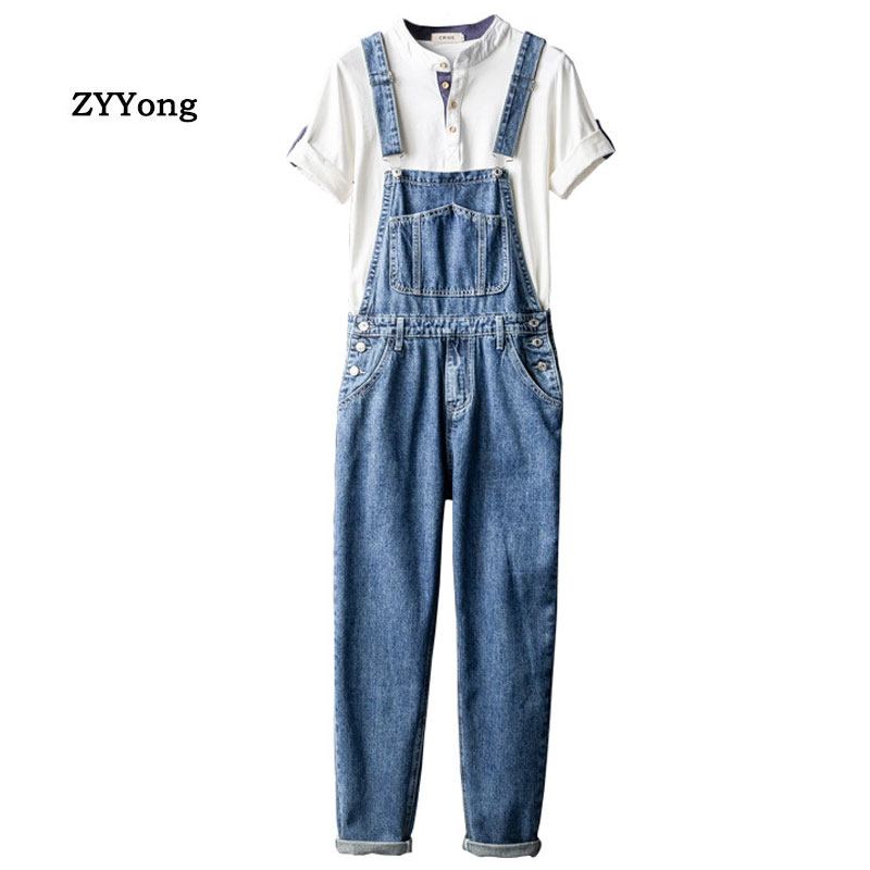 Retro Man Jeans Bib Overalls Loose Large Size Light Blue Leisure Cargo Pants Streetwear Hip Hop Hombre Denim Jumpsuits Trousers