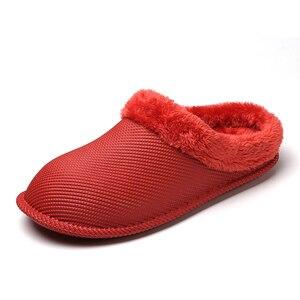 Image 4 - 2019 חורף פרווה מקורה נעלי בית לנשים גברים צבעים בוהקים כפכפים רצפת בית נעלי בית אישה עמיד למים כפכפים Hommer נעלי בנות