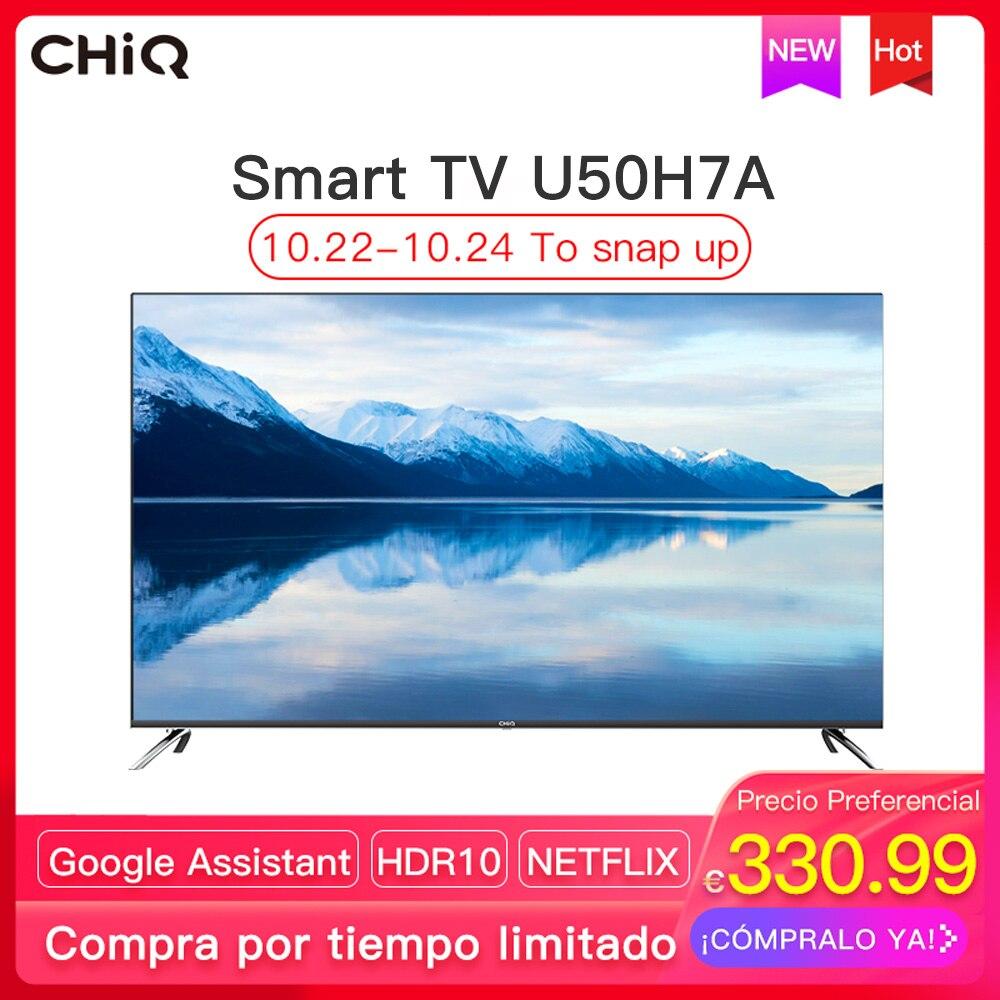 CHiQ U50H7A - Smart TV LED 50 pulgadas, Android 9.0, resolución 4K UltraHD, Wifi, Bluetooth, Google Assistant