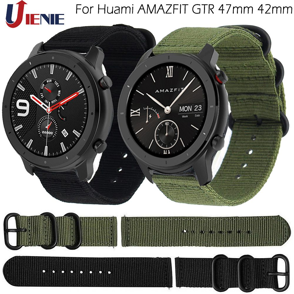 Nylon Canvas Band Strap For Xiaomi Huami Amazfit Bip Stratos 2/2S PACE GTR 42/47MM Watchband For Samsung Gear S3 S2 Bracelet