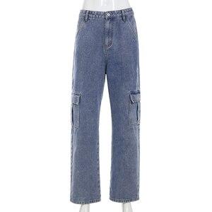 Image 5 - Darlingagaファッションストレートデニムハイウエストパンツポケットルーズ女性のズボン貨物女性のカジュアルなジーンズ底パンタロン