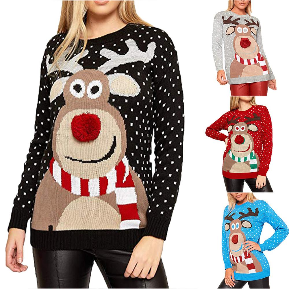 Christmas Sweater Women Christmas Deer Warm Knitted Long Sleeve Sweater Jumper Top Blouse Winter Coat Women Free Shipping