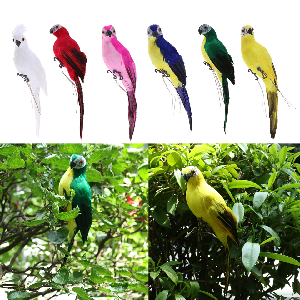 3 Pieces Realistic Macaw Parrot Artificial Feather Bird Animal Ornament Toys