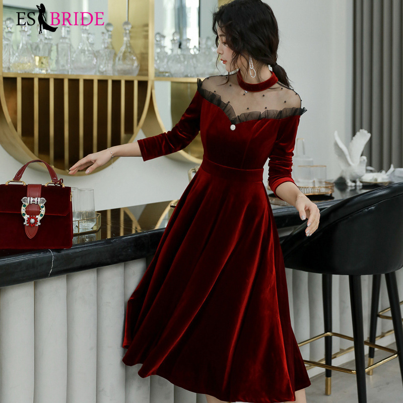 Red Sexy Evening Dresses Women Vintage Long 2019 New Elegant A-Line Evening Dress Formal High-Neck Evening Gown Dress ES1304