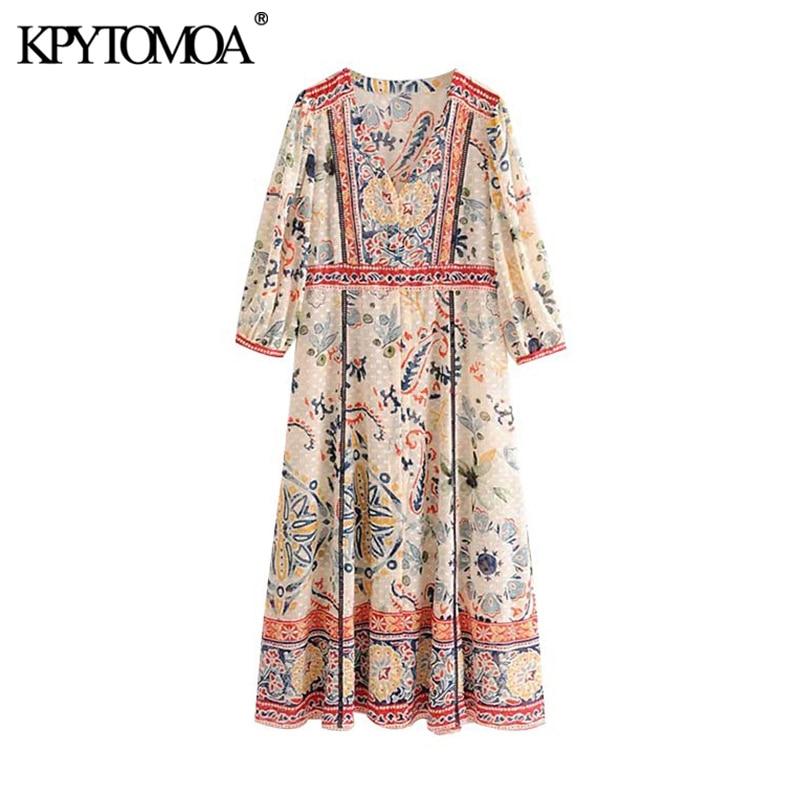 KPYTOMOA Women Chic Fashion Floral Print Maxi Dress Vintage V Neck Three Quarter Sleeves Side Slit Female Dresses Vestidos Mujer