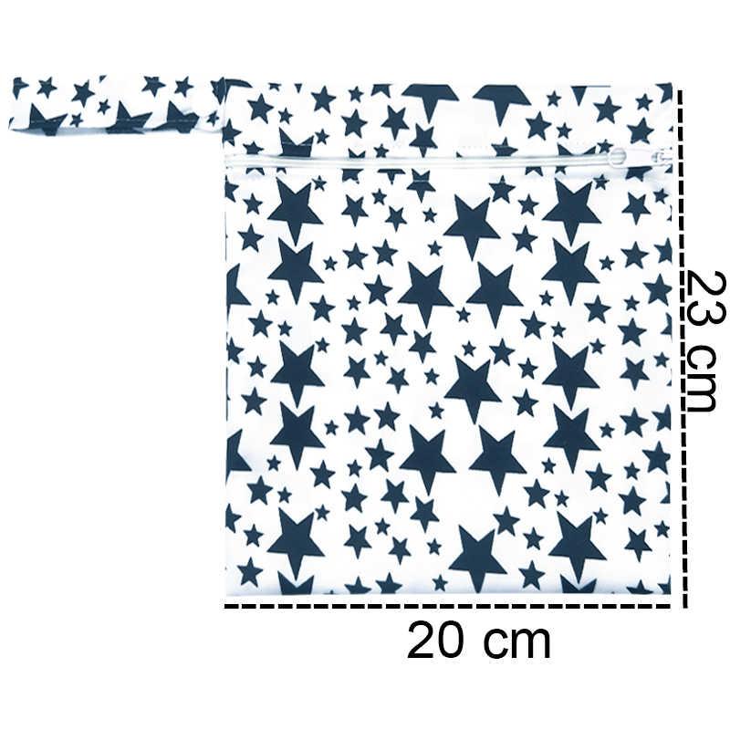 กระเป๋าเปียกน้ำแฟชั่นพิมพ์เปียกผ้าอ้อมกระเป๋าผ้าอ้อม Wetbags Reusable PUL Travel เปียกแห้ง 20X23 ซม.ผ้าอ้อมกระเป๋า