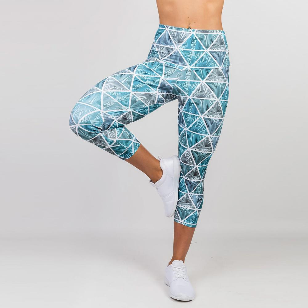 Women Push Up Sportswear Workout Polyester Skinny Breathable Leggings Elastic Force Digital Printing Fitness Ladies Leggings