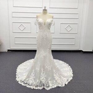 Image 3 - Eslieb 3d цветочное кружевное свадебное платье с жемчугом 2020 Милое Свадебное Платье