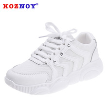 Koznoy Sneakers Women Spring Fashion Students Dropshipping Breathable Muffin Bottom Lace Mesh Increased Leisure Shoes