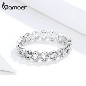 Image 2 - bamoer Trendy Classic Silver Ring Minimalist Simple Love Forever Heart Circle Ring Female Fine Jewelry Original Design GO7223