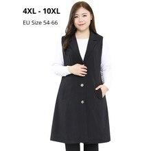 בתוספת גודל 10XL 9XL 8XL 4XL שרוולים קרדיגן גדול ארוך סתיו אביב נשים V צוואר Vest גבירותיי פורמליות שחור אפוד עבור נשים