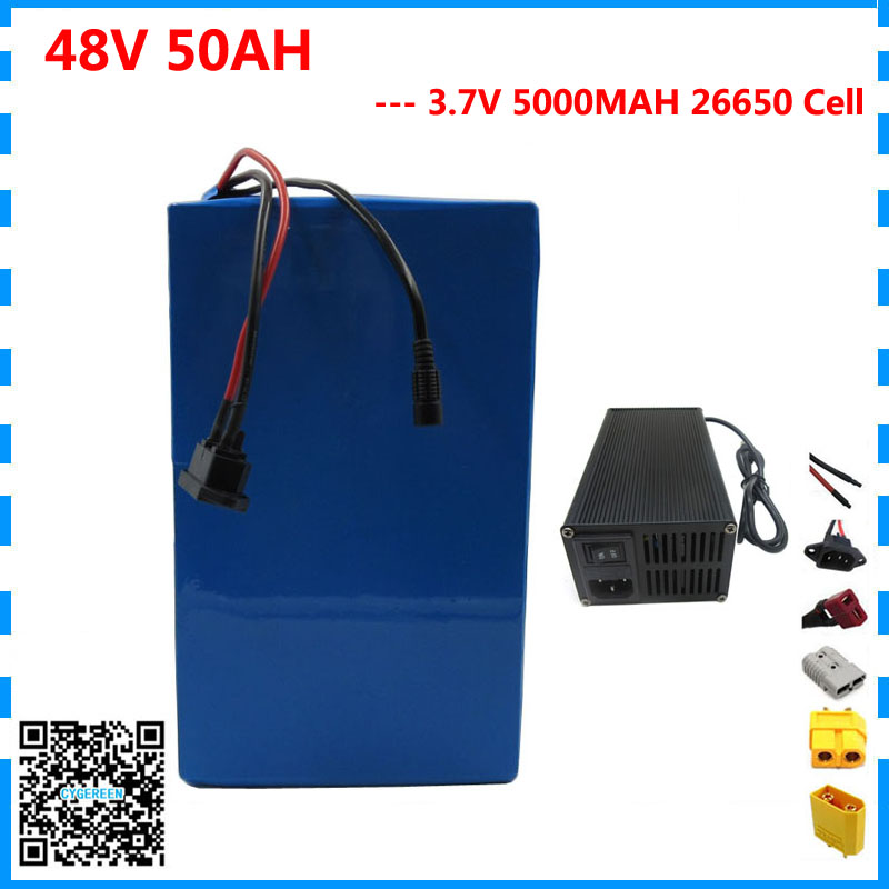 48V 50AH 2000W Electric bike Lithium battery 48V 50AH bicycle battery 26650 5000MAH Cell 50A BMS 54.6V 5A Charger Free shipping