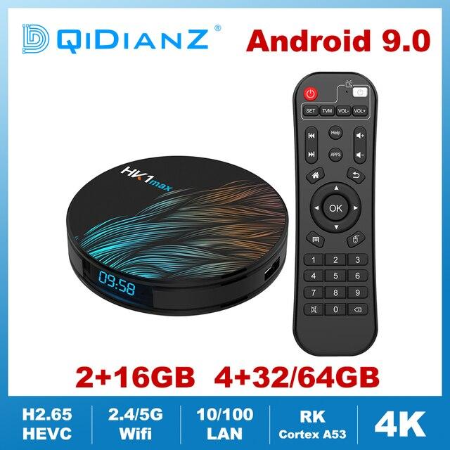 HK1MAX Android 9,0 Smart TV Box Quad Core 2,4G/5G Wifi BT 4,0 DDR3 4K HDR media Player VS X96 HK1 MAX MINI Set Top Box Google