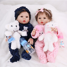 twins Boy girl 44cm bebe Reborn Baby Dolls all silicone doll So beautiful Like Alive baby Doll In Brazil kids Toy Birthday Gift