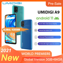 UMIDIGI A9 Version globale Android 11 3GB 64GB 13MP AI Triple caméra Helio G25 Octa Core 6.53