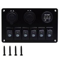 USB Charging ABS 12V 24V 6 Gang Rocker Switch Panel Dual USB Waterproof Circuit Breaker Blue LED Car Marine Boat Control Switch