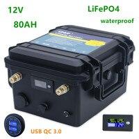 12v Lifepo4 batteria 80ah lifepo4 12v 80ah batteria al litio della batteria impermeabile per barche elica/motore, energia solare, RV