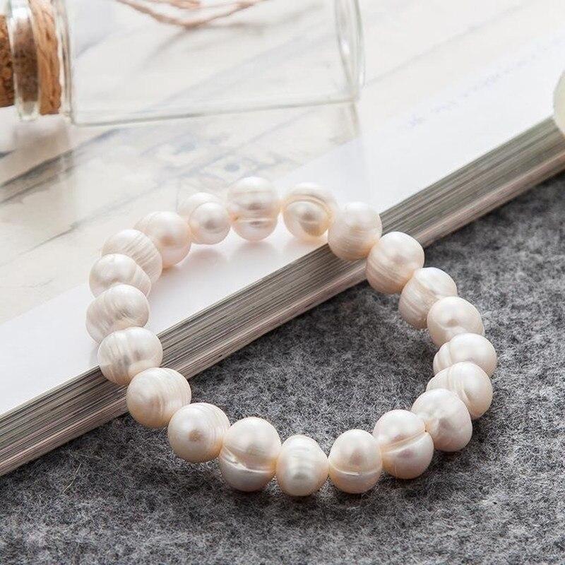 8mm moda feminina pérola pulseira charme corrente de água doce pérola contas pulseira para feminino jóias pulseras mujer moda
