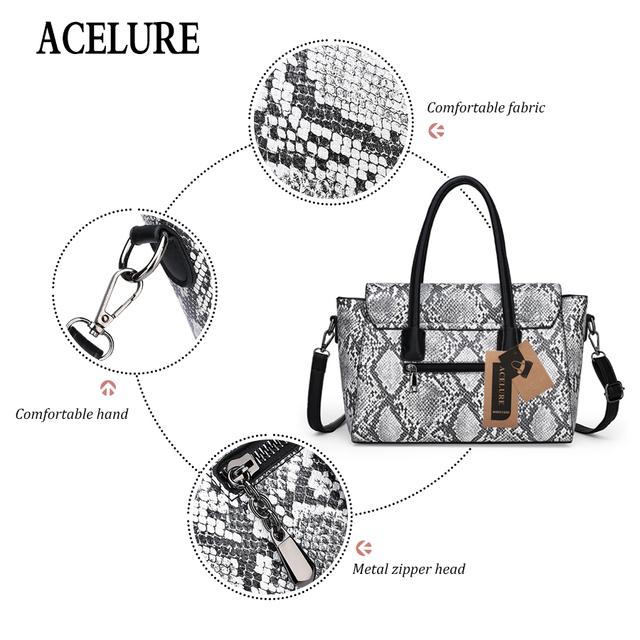 ACELURE Brand Women Handbag Fashion Snake Print Large Handbag High Quality Pu Leather Ladies Shoulder Crossbody Bag Women Tote