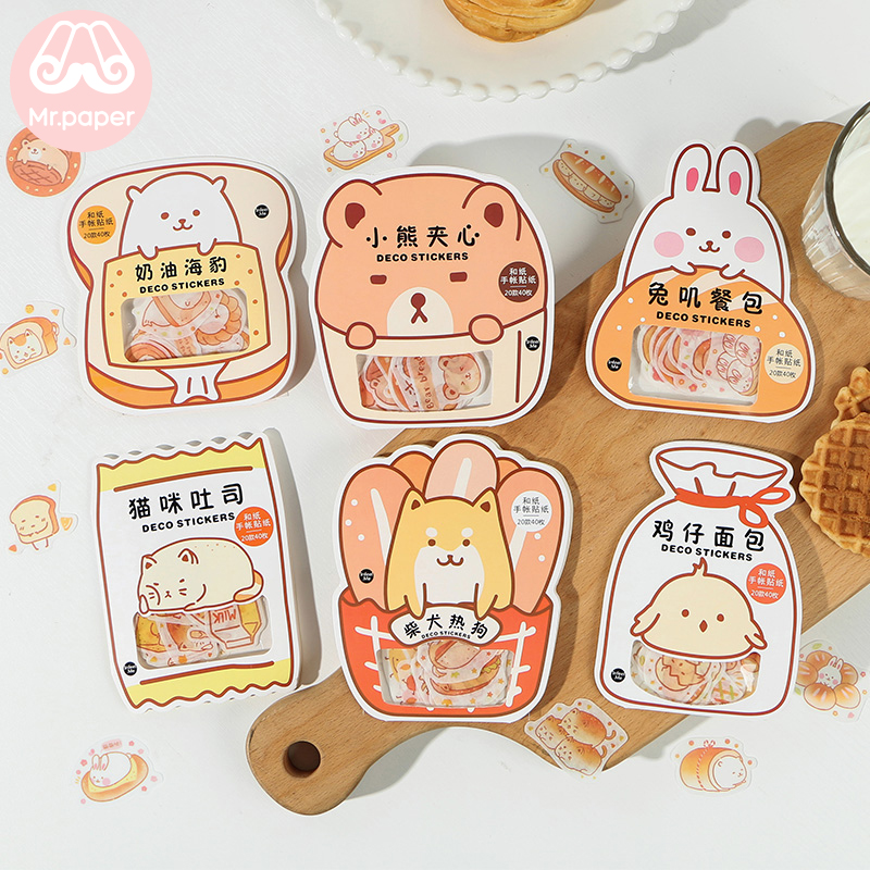 Mr.paper 40Pcs/bag 6Designs Bread Bear Good Day Cat Toas Deco Diary Stickers Scrapbooking Planner Decorative Stationery Stickers