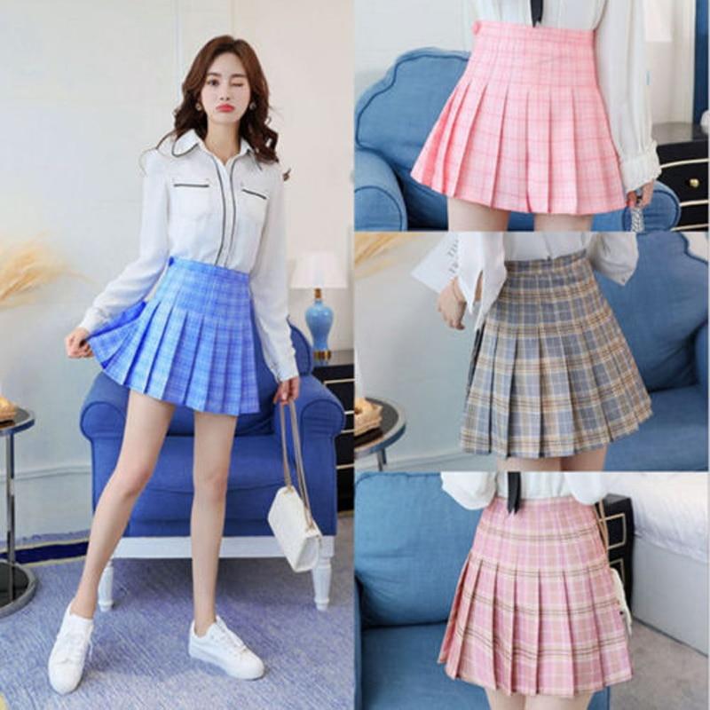 Kawaii Girls Japanese Style High Waist Plaid Chest Pleated Skirt Cute Lolita Mini Short Skirts Uniforms School Tartan Pink Blue