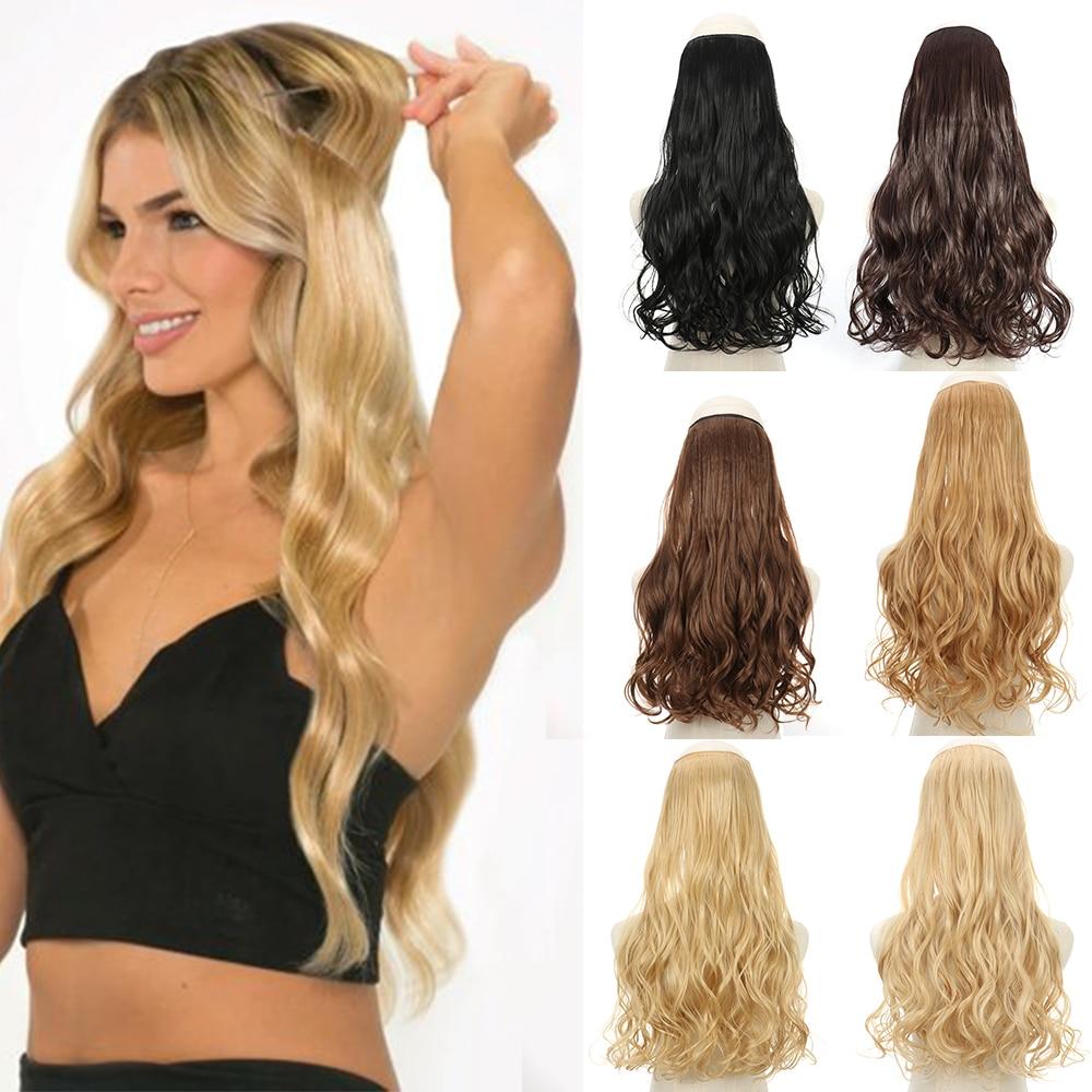 Натуральные синтетические удлинители волос AZIR с ореолом без зажима, искусственные светлые, коричневые, черные волнистые накладные волосы с...