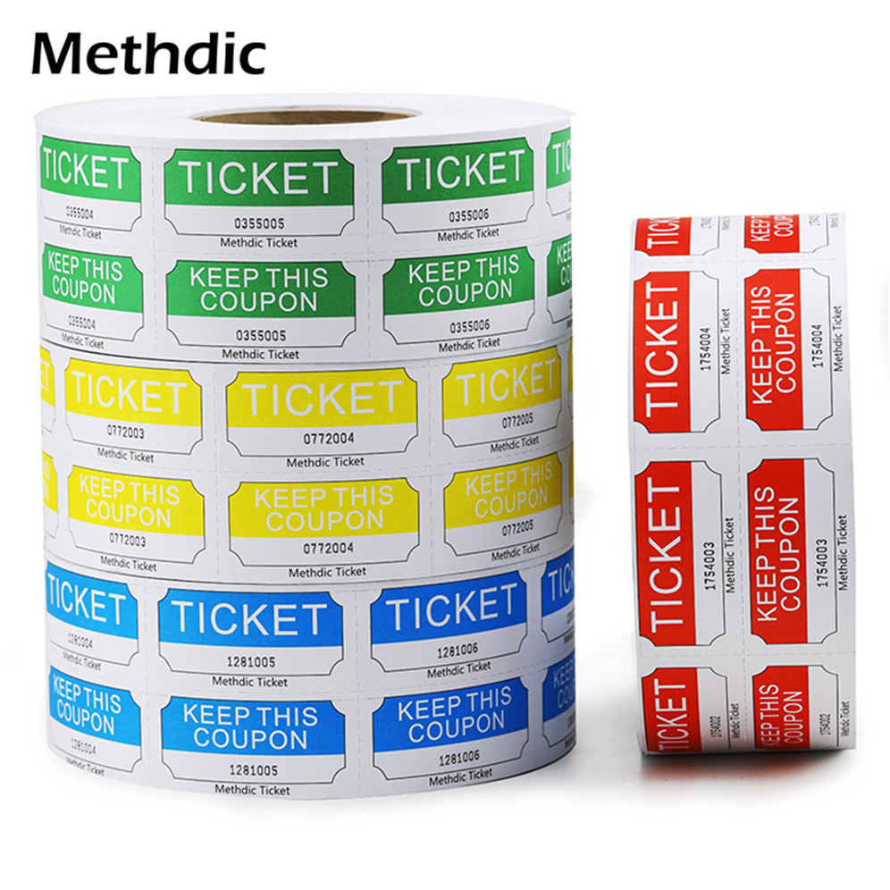 Methdic Wholesale Custom Double Raffle Coupon Ticket Roll