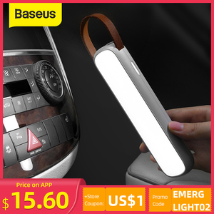 Baseus LED Flashlight Solar Emergency Light 3 Modes Magnetic Work Light USB Rechargeable Portable Searchlight for Car&Camping