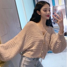 Women Autumn Solid Short Knitting Sweaters Casual Loose Size V-Neck Femme Elegant Lantern Sleeves Knitted Cardigans dark grey embroidery pattern lantern sleeves knitted cardigans