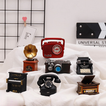 Creative MINI Retro Radio Pianos Cameras Telephone Model Antique Imitation Nostalgia Wireless Ornament Craft Bar Home Decor Gift 1