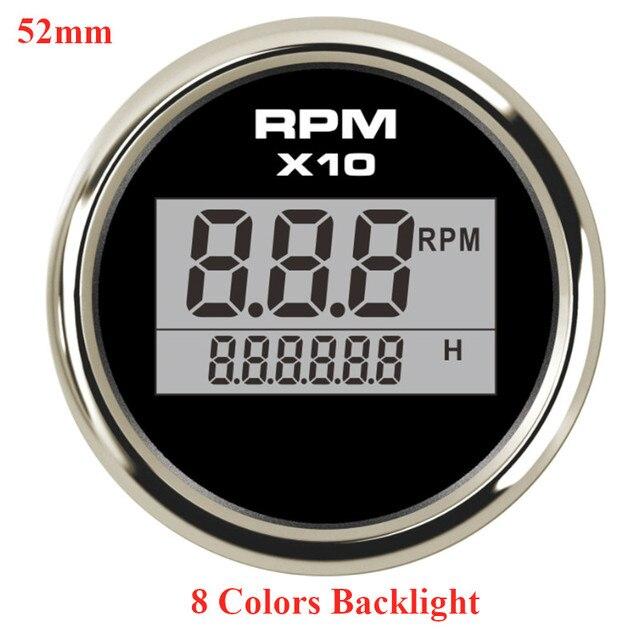52mm Black Waterproof Petrol Rev Tacho gauge ideal Kit Car or Marine