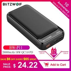 BlitzWolf BW P11 20000mAh mobilny powerbank 18W QC3.0 PD Power Bank dla iPhone 11 Pro X dla Samsung S9 S10 dla Xiaomi dla Huawei w Powerbank od Telefony komórkowe i telekomunikacja na
