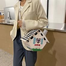 Новинка, дизайнерские сумки с двойным цветком, женская сумка через плечо в форме домика, сумка через плечо из искусственной кожи, сумка-месс...