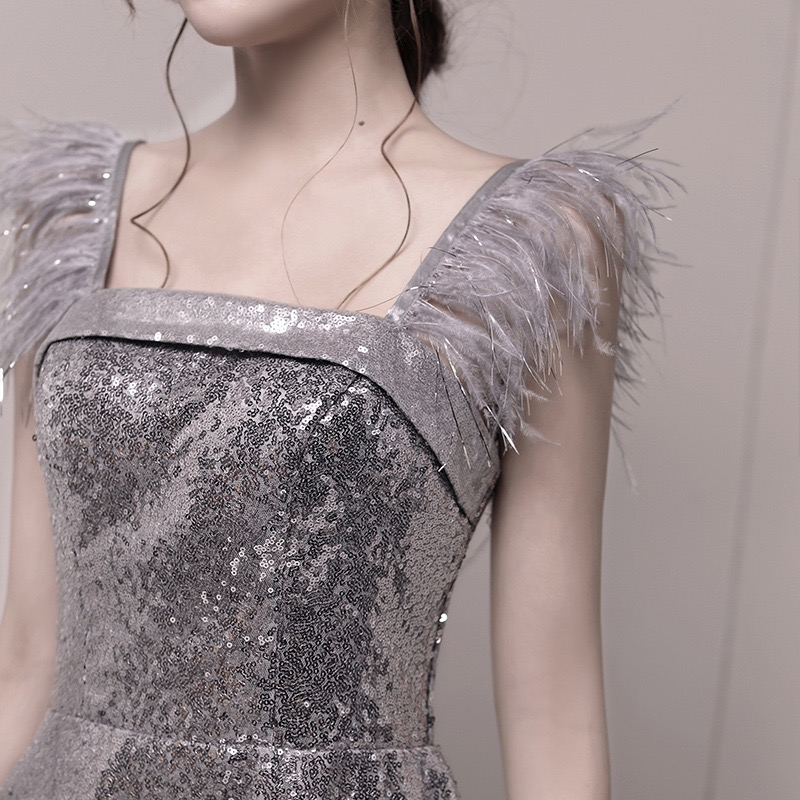 Sleeveless Sweet Dress 2020 New Luxury Cocktail Dress Sequins Square Collar Feather Tassel Party Vestidos Dress Female Robe