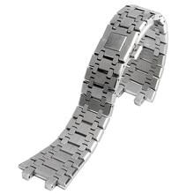 Correas de reloj de acero inoxidable macizo HQ de lujo, 28mm, correas de hebilla de mariposa plateada para reloj AP + 2 barras de resorte
