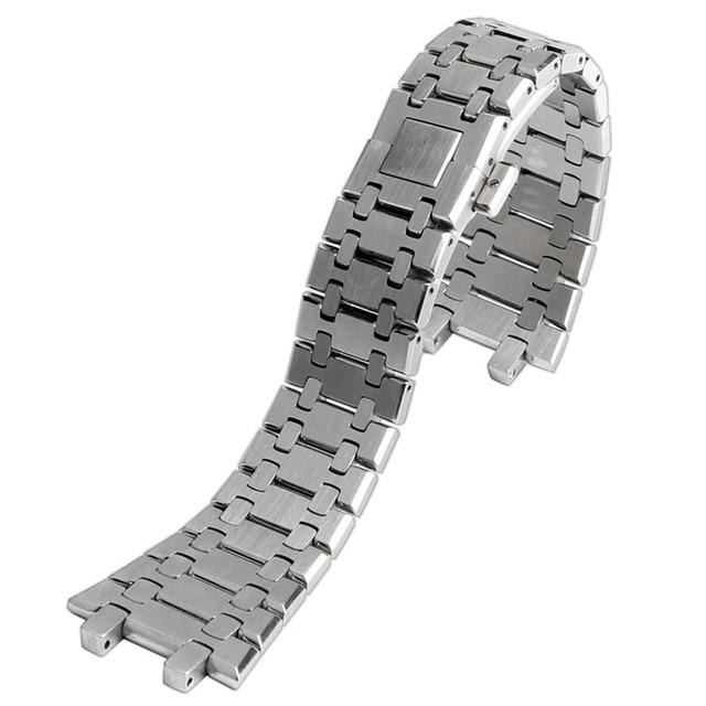 الفاخرة HQ 28 مللي متر الصلبة الفولاذ المقاوم للصدأ أشرطة ساعات يد الفضة فراشة مشبك الأشرطة ل AP ساعة 2 الربيع الأشرطة