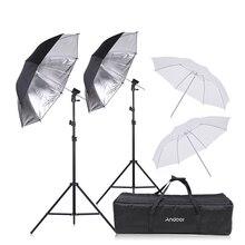 Andoer speedlight flash sapato montagem giratória kit guarda chuva macio + suportes suporte de luz suave guarda chuva para canon nikon sapato quente flash