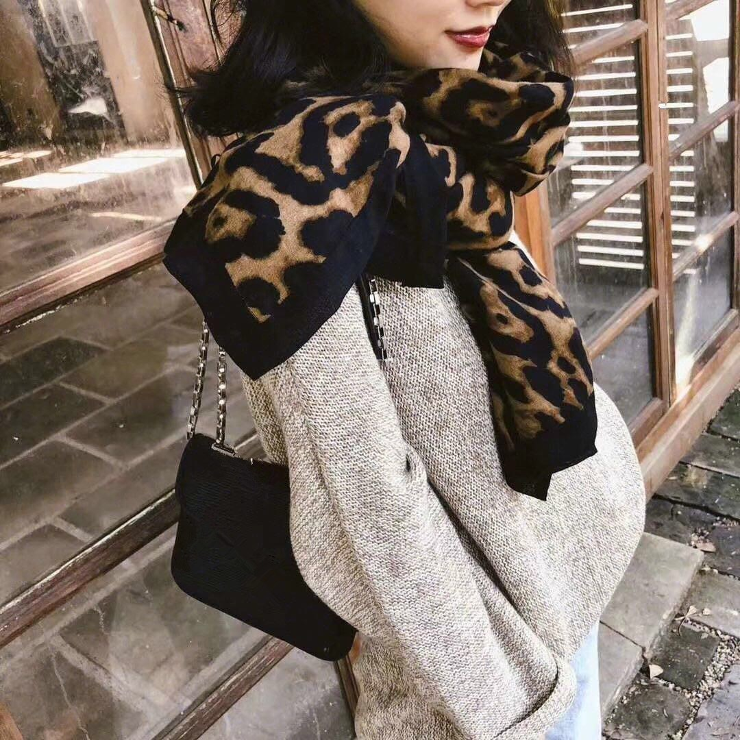 Fashion Leopard Printed Scarf Women Winter Blanket Scarf Print Warm Soft Cotton Linen Thicken Scarves For Women Lady