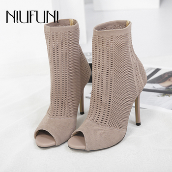 Stretch Fabrics Stiletto Solid Color Womens Ankle Boots High Heels Peep Toe Knit Sock Booties Shoes Woman Sexy Slim Lady