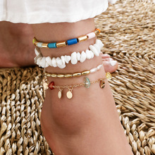 цена на 2020 Bohemian Shell Multi-layer Anklet Set Charms Rhinestone Butterfly Pearl Beaded Anklet Foot Chain for Women Fashion Jewelry
