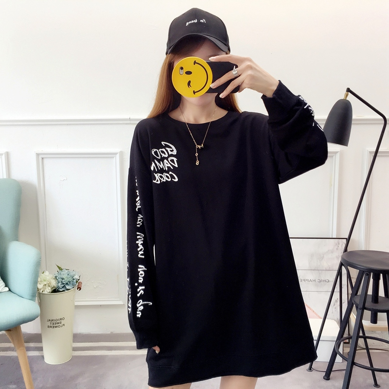 2019 autumn new Korean version of the XL T-shirt women's thin section long-sleeved loose hole wild T-shirt shirt women 83