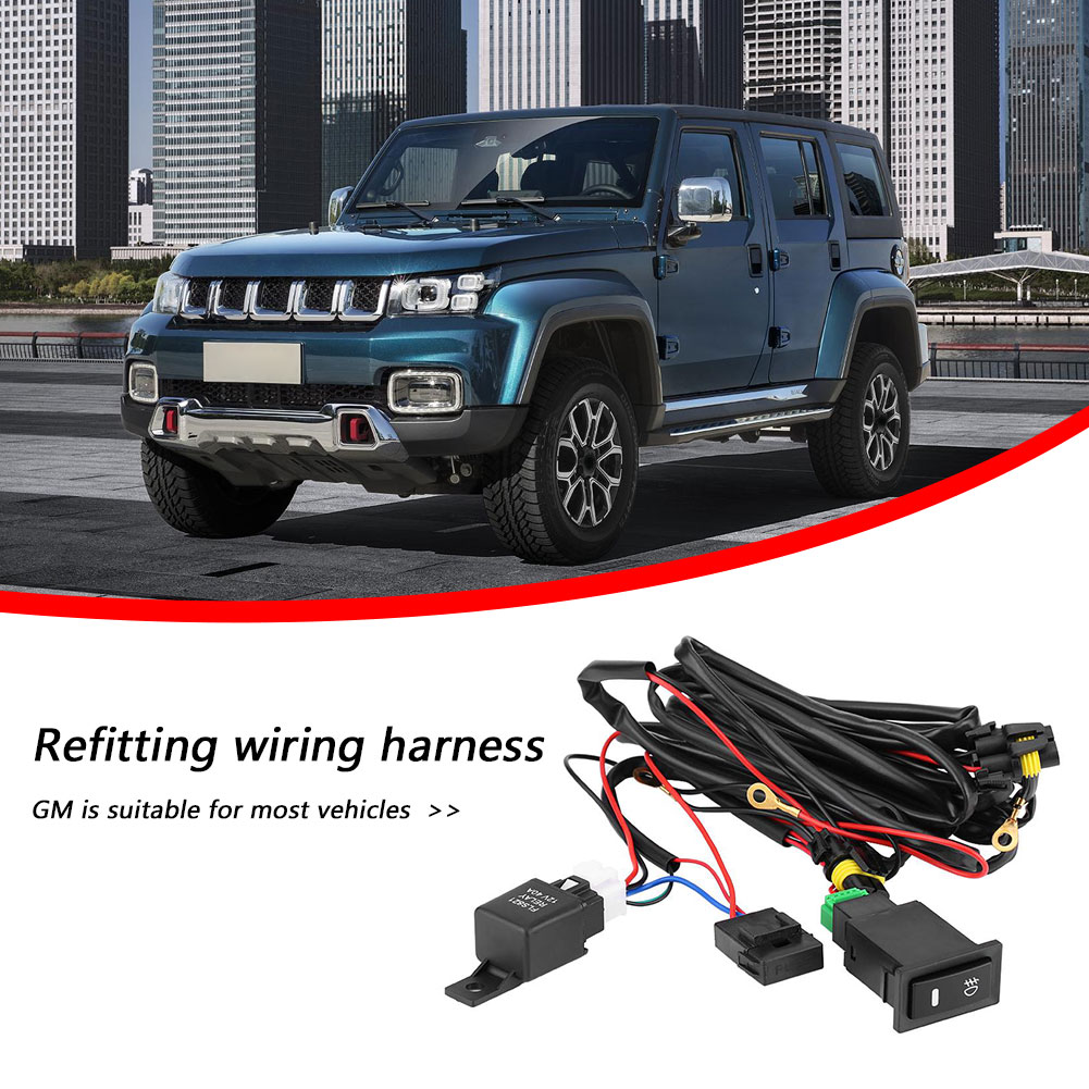 40A 12V Switch Relay Wiring Harness Kit Automobile Car Cable Wiring Harness Kit for LED Fog Work Light Bar 10.7 Feet