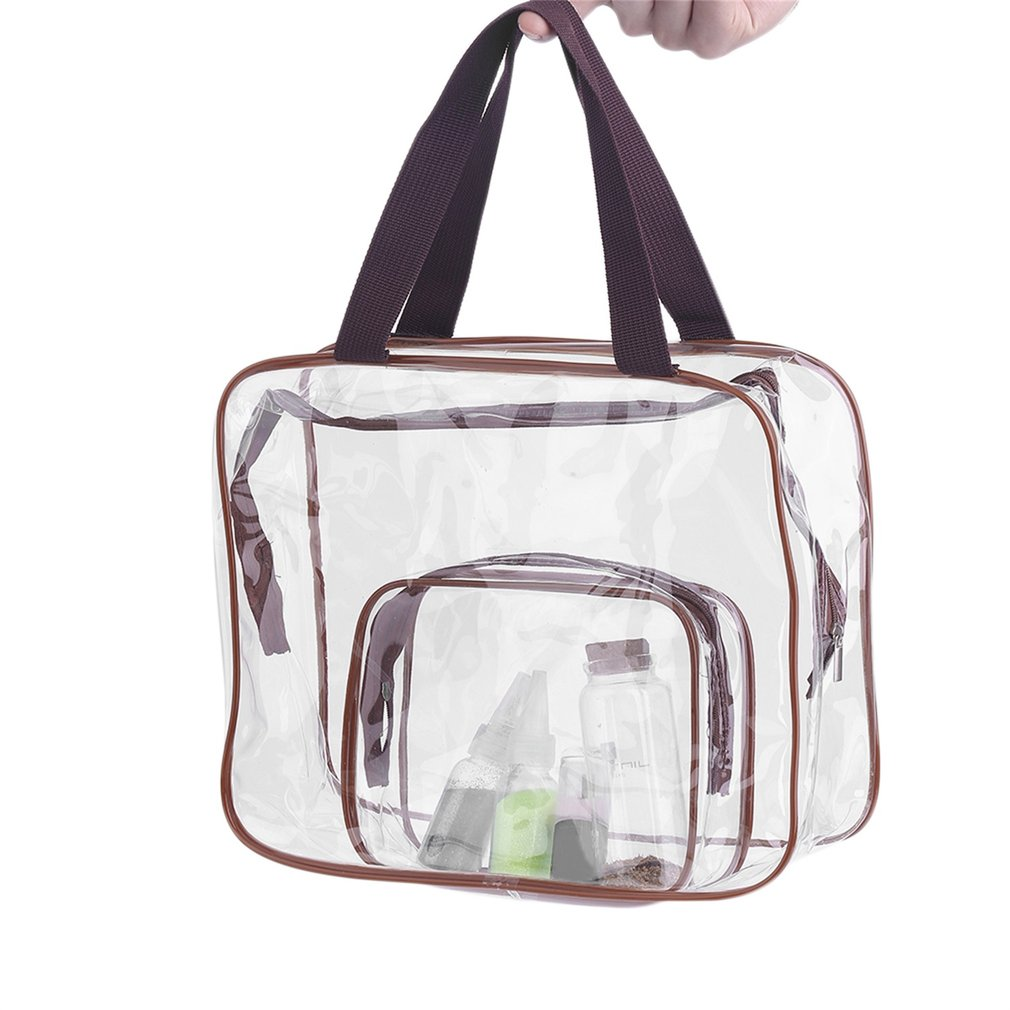 3Pcs/set Portable Makeup Cosmetic Toiletry Travel Bath Wash Storage Pouch Transparent Waterproof Bag Organizer Bag