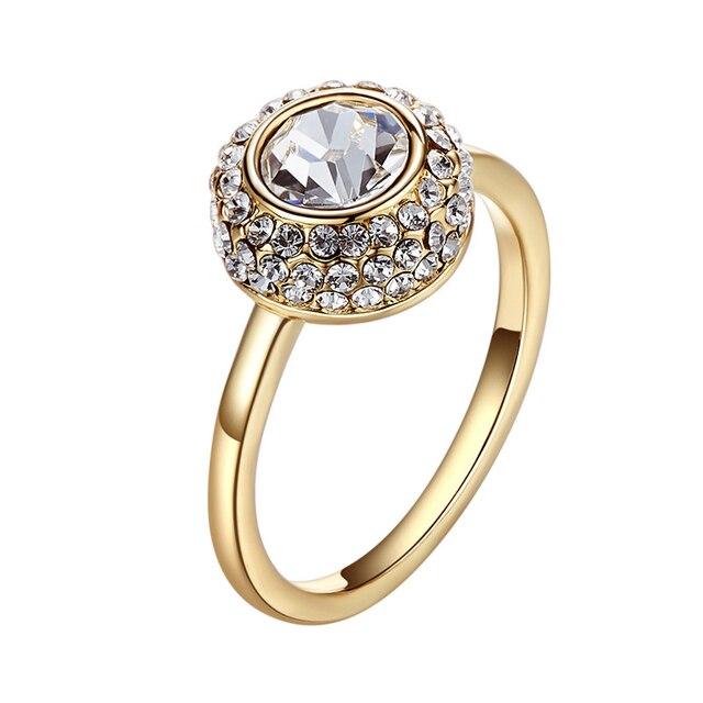 وارم فربن مزين بالكريستال من سواروفسكي حجر أبيض شفاف خاتم ذهبي اللون زركونيا خطوبة الزفاف