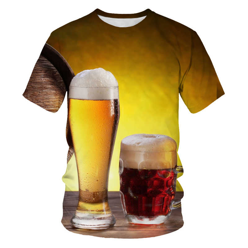 夏男性の tシャツ 3D ビール時間半袖小説透かし o ネックトップ tシャツおかしい 3D プリントストリート tシャツ