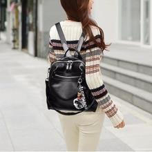 Popular waterproof Backpack elegant Leather Women Dual purpose Capacity School Bag for Girls Double Zipper Leisure Shoulder Bag