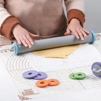 Rodillo de silicona para ESPESOR AJUSTABLE, herramientas de cocina para hornear, rodillo de masa para pasteles, repostería