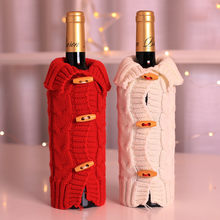 Cute knitting Wine Bottle Cover Snowman Stocking Christmas Gift Bags Sack Packing Present champagn bags beer can disguise F927(China)