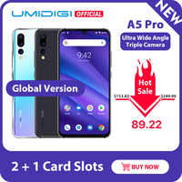 UMIDIGI A5 PRO Versión Global Android 9,0 Octa Core 6,3 'FHD + gota de agua 16MP Triple Cámara 4150mAh 4GB RAM 4G